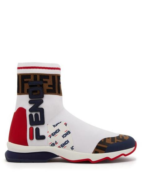 Fendi - Mania Ff Logo Sock Boots - Womens - White Multi