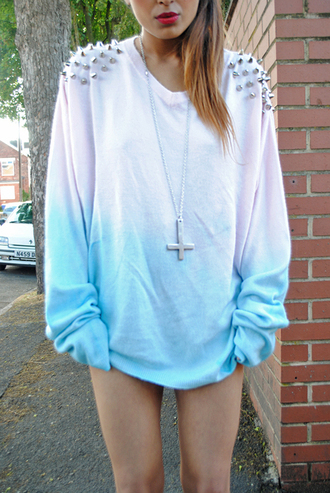 jewels silver cross shirt studs ombre oversized sweater pastel blue studded ombre bleach dye white tumblr pastel grunge girly girl clothes sweater gradient spikes cute urban long sleeves jacket sweatshirt dip dyed pink blouse cross necklace