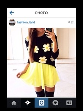 sweater,blouse,skirt,dress,shirt,flower top,yellow skirt,sweatshirt,black,white,yellow,black sweater,black sweatshirt,flowers,floral,floral sweater,white flowers,print,cute,cute sweater,flowy skirt,skater skirt,thigh highs,knee high socks,black thigh highs,phone cover,black phone case,short,flowy,neon,lack yellow