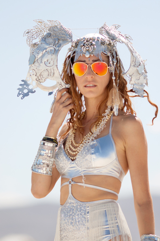 hair accessory sunglasses aviator sunglasses mirrored sunglasses silver swimwear swimwear one piece swimsuit cuff bracelet bracelets necklace burning man burning man clothing burning man costume festival music festival