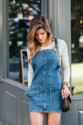 dress,tumblr,denim skirt,blue dress,denim dress,mini dress,top,stripes,striped top,bag,pochette metis,louis vuitton,louis vuitton bag,ombre hair