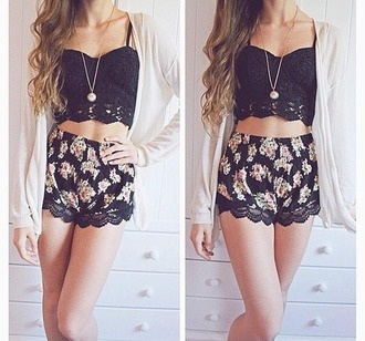 top shorts black floral flowered shorts mini shorts shirt cardigan crop tops