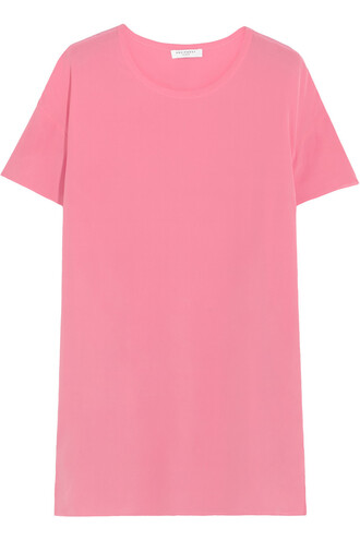 top oversized silk pink