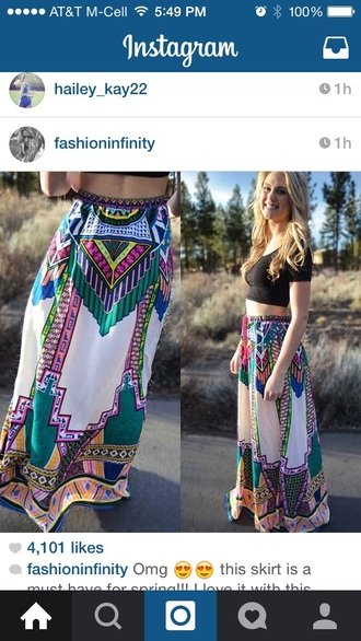 skirt colorful long pattern maxi skirt