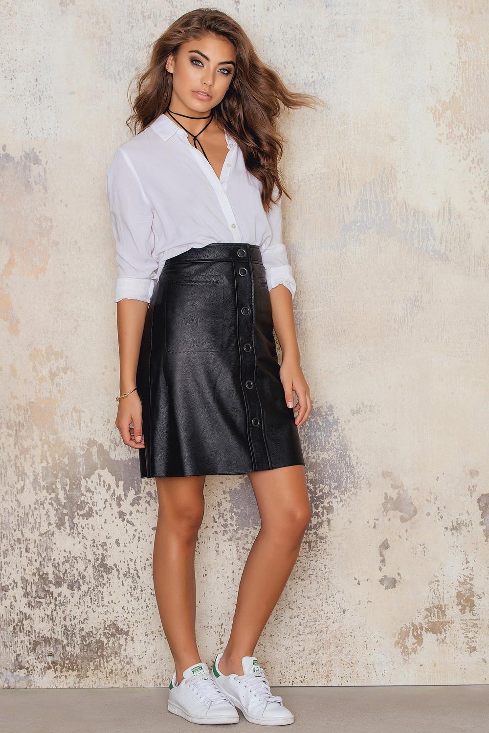 Filippa K Panel Button Leather Skirt