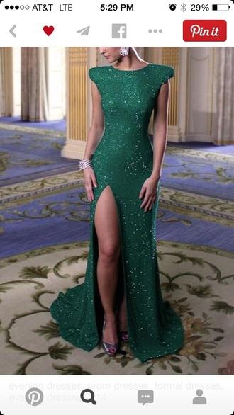sequin dress green dress formal dress prom dress gala thigh cut dress green swimwear