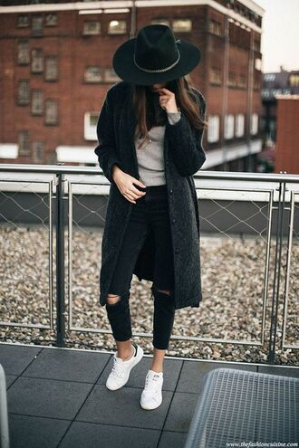 coat streetstyle ripped black hat grey beige white adidas stan smith winter outfits outfit idea new york city ripped jeans winter coat winter look