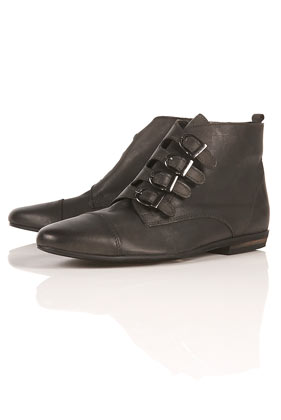 Anvil black multi buckle ankle boots