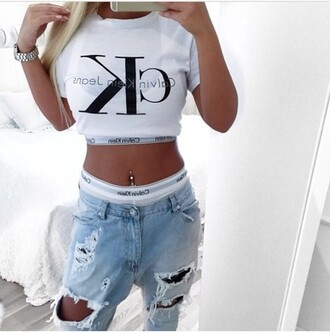 jeans ripped jeans high waisted jeans blue jeans light blue jeans pants high waisted pants outfit outfit idea summer outfits cute outfits spring outfits date outfit party outfits trendy clubwear style stylish fashion clothes top white top summer top cute top crop tops white crop tops calvin klein calvin klein underwear watch