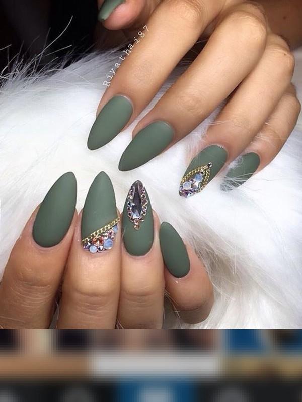 nail polish, green, dark green, olive green, dull green, matte green ...