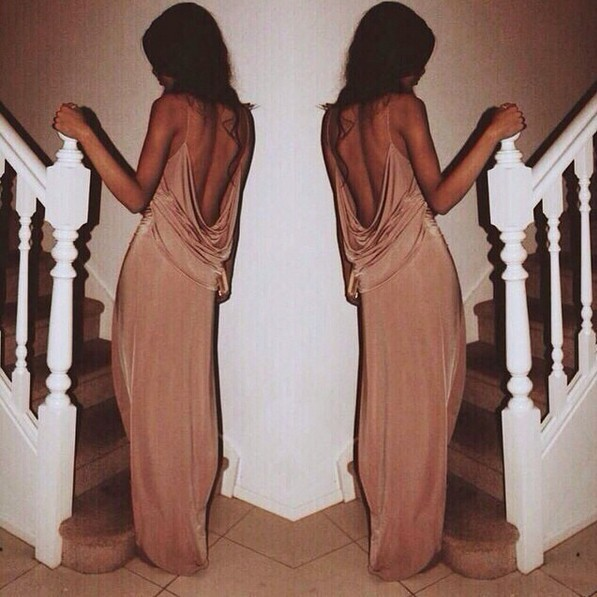 Show body sexy backless deep v dress
