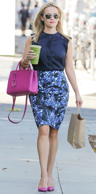 skirt top floral reese witherspoon pumps purse bag