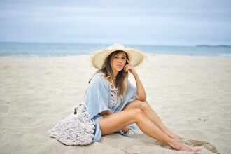 cuppajyo blogger top jewels bag hat straw hat beach blue dress cover up