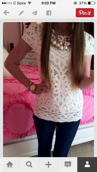 blouse white lace shirt sleeves white top white shirt lace shirt