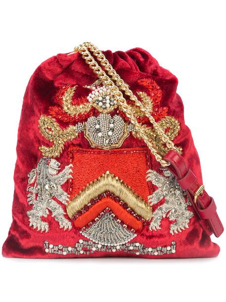 Alberta Ferretti women embellished bag leather velvet red