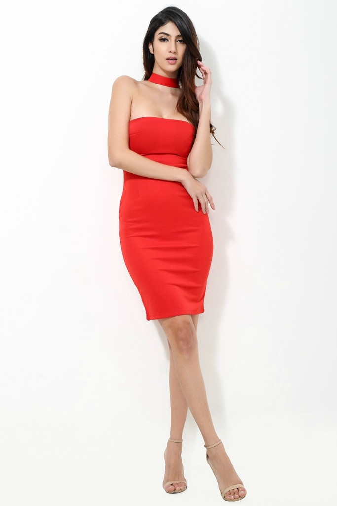 Valerie - High Neck Band Bodycon Dress