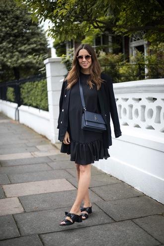 dress tumblr mini dress black dress jacket blazer black blazer sandals mules bag black bag all black everything shoes