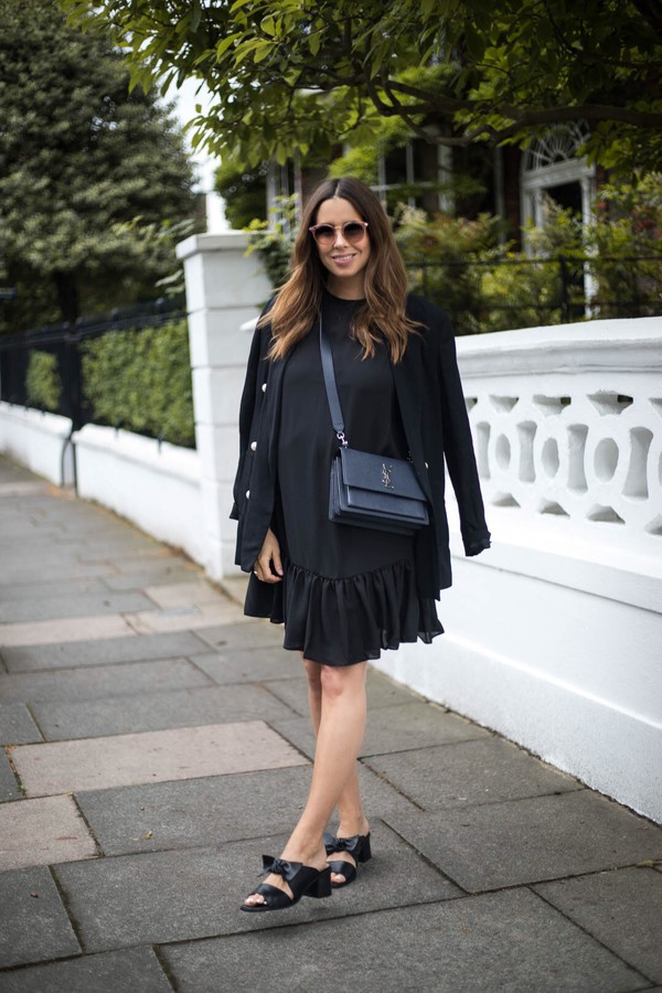 2a7efcb3ab698 dress tumblr mini dress black dress jacket blazer black blazer sandals  mules bag black bag all