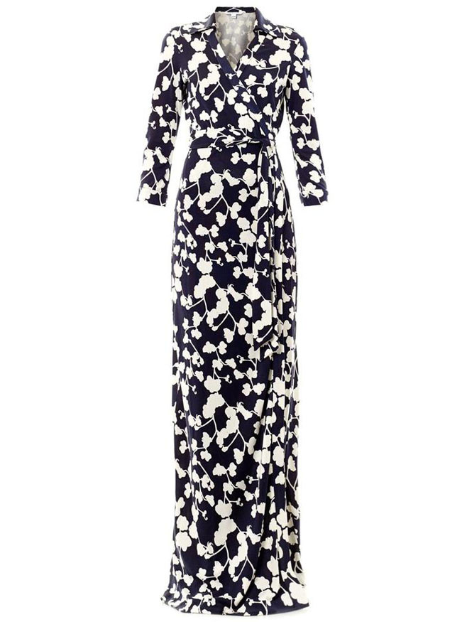Navy V Neck Floral Print Full Length Dress - Sheinside.com