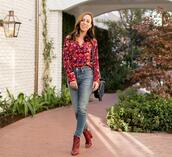 sydne summer's fashion reviews & style tips,blogger,shoes,shirt,jeans,red boots,fall outfits,spring outfits,printed shirt