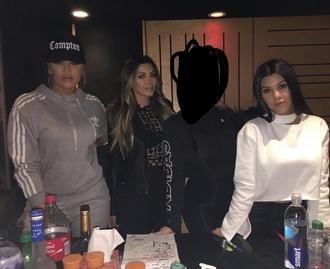 top khloe kardashians grey white adidas hoodie winter outfits tracksuit