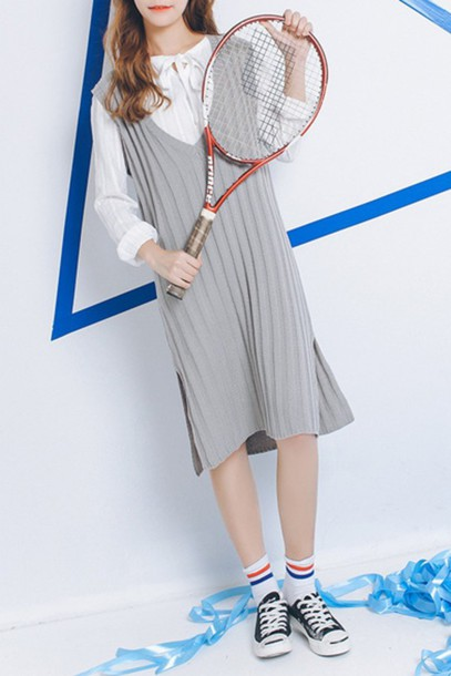 4ed52b66510f dress Midi summer knit dress midi dress knitted dress grey dress slit dress  sneakers black sneakers