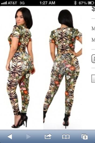 pants floral tiger