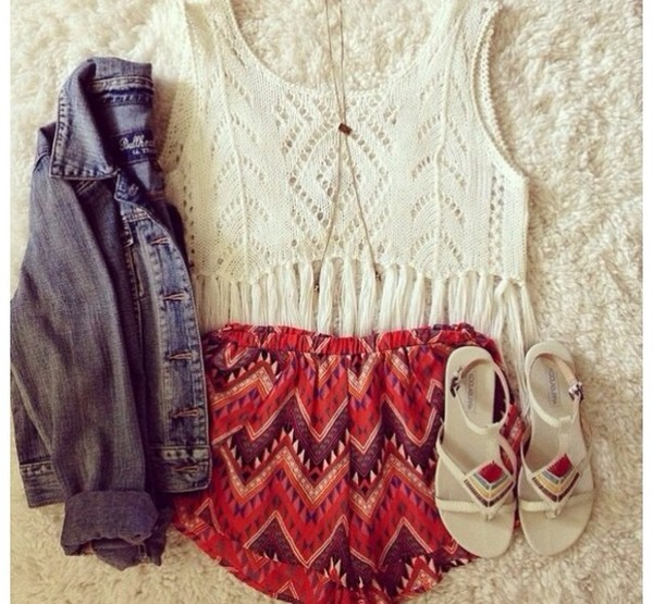 tank top shorts jacket shoes