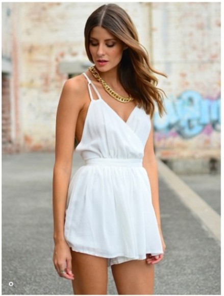 cute outfits dress soft pleaseeee white jumpsuit white jumpsuit in love must have delicate thin straps cute summer outfits backless