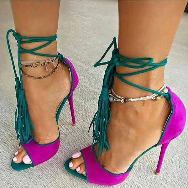 shoes fsj shoes strappy heels strappy ankle strap purple shoes