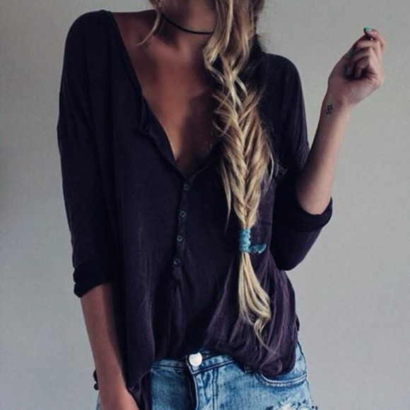 blouse black blouse casual top blonde hair