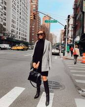 shoes,boots,over the knee,high heels boots,midi dress,turtleneck dress,blazer,handbag,sunglasses