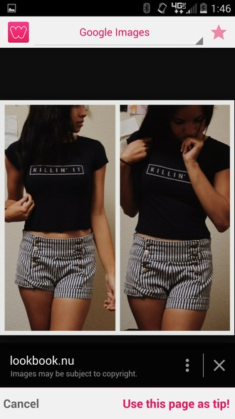 t-shirt crop tops t-shirt with print letter t-shirts letters/numbers killin it stripe shorts cute top cute shorts cardigan