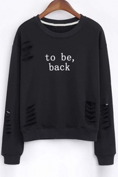 sweater,black,ripped,long sleeves,fashion,style,trendy,cool,casual,beautiful halo