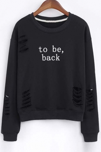 sweater black ripped long sleeves fashion style trendy cool casual beautiful halo