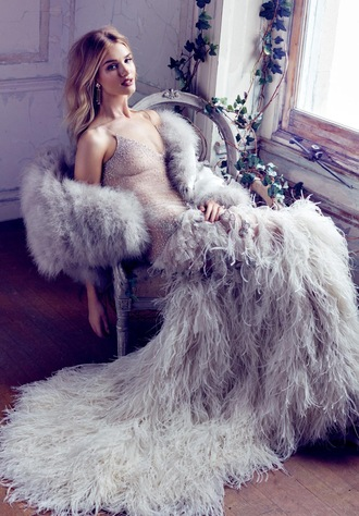 dress gown prom dress wedding dress long prom dress rosie huntington-whiteley feather dress feathers romantic dress editorial