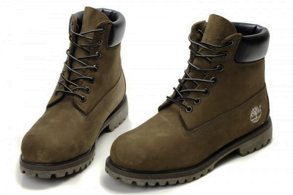 Dark army green suede timberland boot.