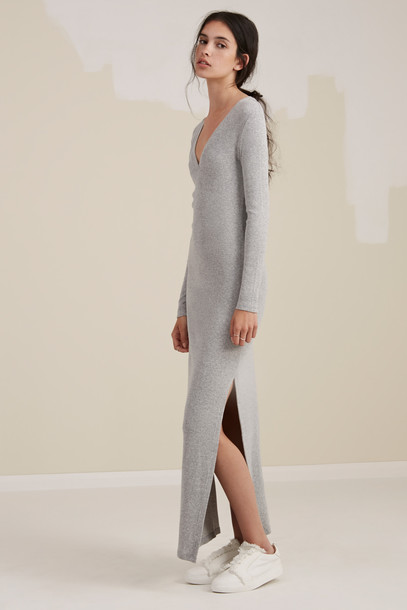 The fifth dress long sleeve dress long grey