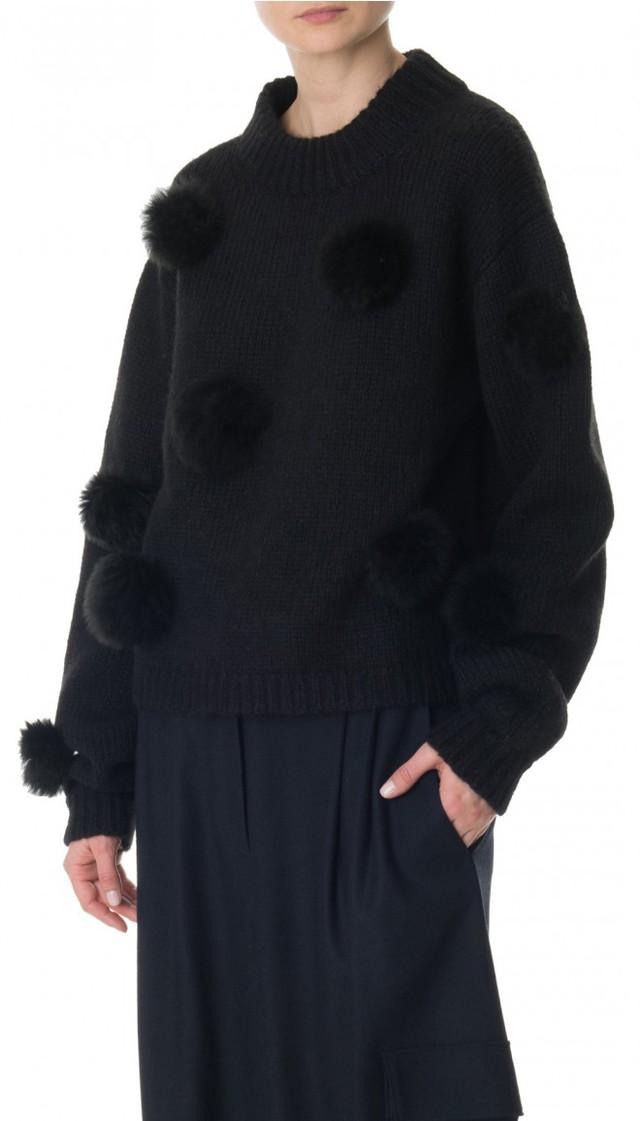 Alpaca Pompom Cropped Sweater   $450 Shop