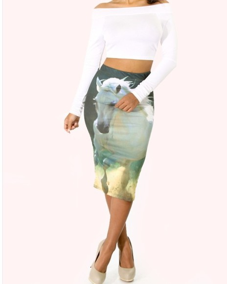 midi skirt skirt unicorn