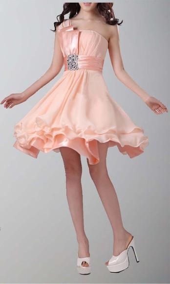 chiffon short party dresses cocktail dresses peach dress short prom dresses one shoulder dresses