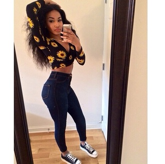 shirt sexy chic comfy and cute black and yellow tight jeans converse blasian bad bitch shoes jewels