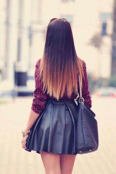 skirt short skirt leather skirt black skirt skater skirt black leather skirt flannel shirt