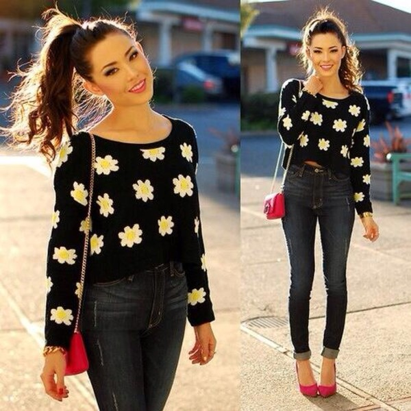 sweater clothes flowers high heels red high heels bag shoes jeans daisy sweater top floral black