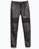 Faux leather biker trousers with zips