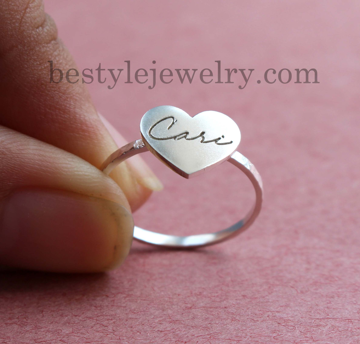 Signature Heart Ring - Engraved Handwriting Heart Ring - Engraving Ring - Christmas Gifts - Personalized Jewelry