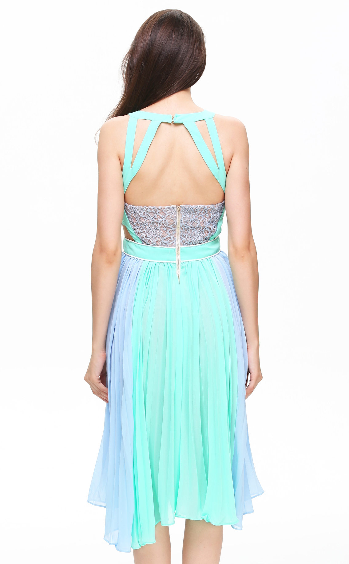 Blue Sleeveless Hollow Pleated Chiffon Dress - Sheinside.com