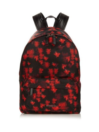 backpack print red bag