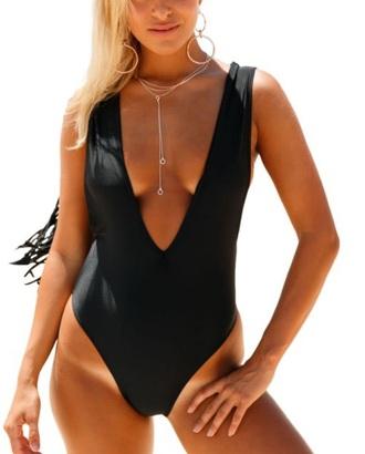 swimwear girly black one piece swimsuit one piece high leg cut high leg bikini high legged