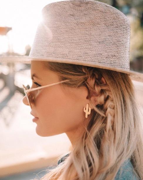 jewels earrings cactus earrings gold earrings hat jewelry